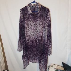 Mblm sheer purple animal print tunic sharkbite